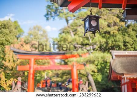 The lantern in shrine, Japan - stock photo