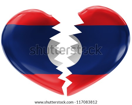 The Laotian flag painted on  3d broken heart