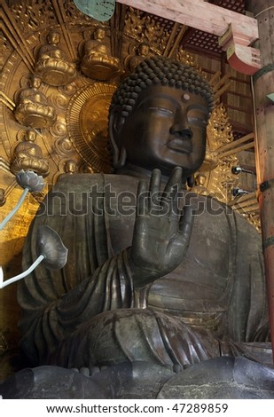 The large Buddha statue inside the Daibutsuden in Todai-ji temple, Nara - Japan - stock photo