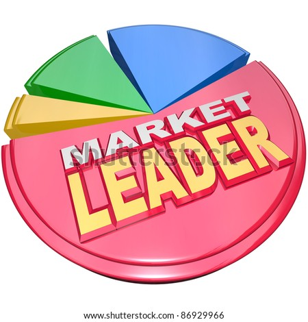 The largest slice of a 3D pie chart with the words Market Leader to signify the company, business or organization that has enjoyed the most success and earned a dominant role in its industry or field - stock photo