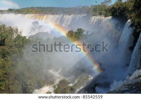 The largest waterfalls on the Earth, located on the border Brazil, Argentina, and Paraguay. Iguazu Falls, South America - stock photo