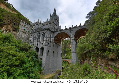 the Las Lajas sanctuary in Ipiales Colombia seen from beneath
