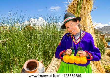 the latin woman in national clothes. Peru. south america