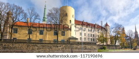 The latvian castle of Riga situated in the city's old town area. - stock photo
