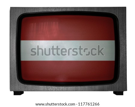 The Latvian flag painted on old TV - stock photo