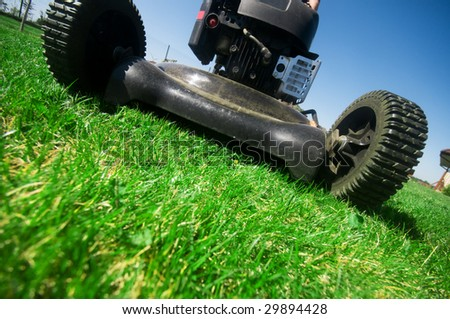 The lawn mower. Gardening series - stock photo