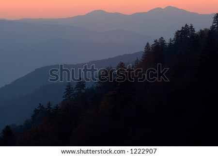 The layers of the North Carolina mountains painted by sunrise - Great Smoky Mountains Nat. Park, USA