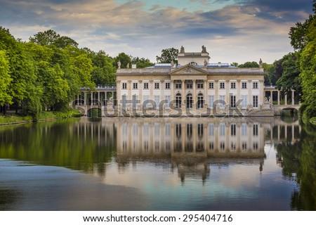 The Lazienki palace in Lazienki Park, Warsaw. Lazienki Krolewskie. Poland - stock photo