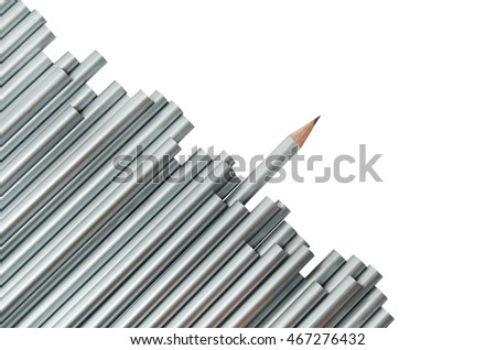 The leadership concept, represented by a sharped silver pencil heading to the apposite side of others, isolated on white background