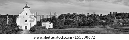 The leaning church of St. Peter of Alcantara, Karvina, Czech Republic - stock photo