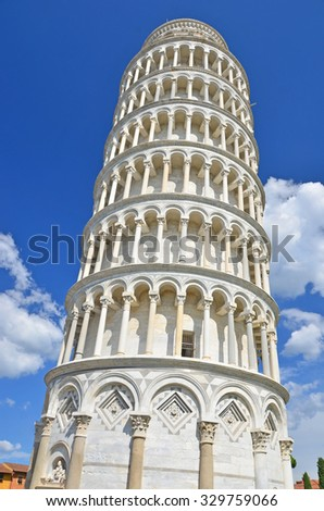 The leaning tower of Pisa, at Pisa, Italy - stock photo