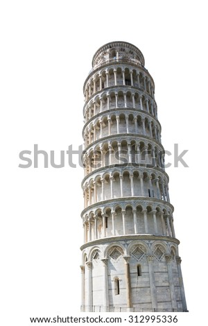 The Leaning Tower of Pisa isolated on white - stock photo