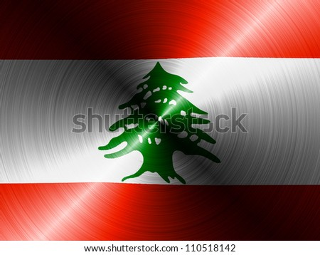The Lebanese flag painted on brushed metall