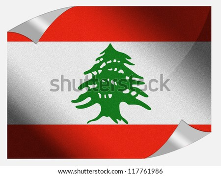 The Lebanese flag painted on page sheet with folded corners