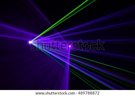 The led spot light covering light beams on an empty stage