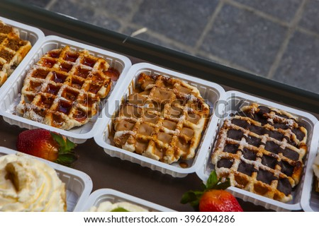 "The legendary belgian ""Gaufres de Lieges"" with caramel - stock photo"
