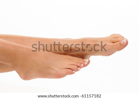 The legs of a woman on a white background. Cut Out - stock photo