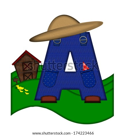"""The letter A, in the alphabet set """"Down on the Farm,"""" is dressed in denim overalls complete with pockets.  Letter sits on farm scene with rolling hills, barn, and ducks. - stock photo"""