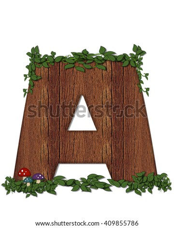 "The letter A, in the alphabet set ""Log"" is filled with wood texture.  Vines and colorful mushrooms grow around letter.  Some letters have knot holes with peeking eyes. - stock photo"