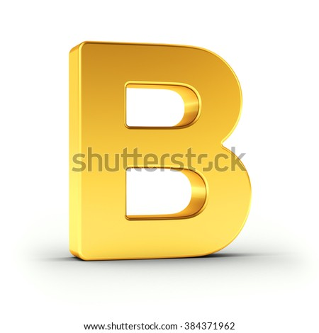 The Letter B as a polished golden object over white background with clipping path for quick and accurate isolation.