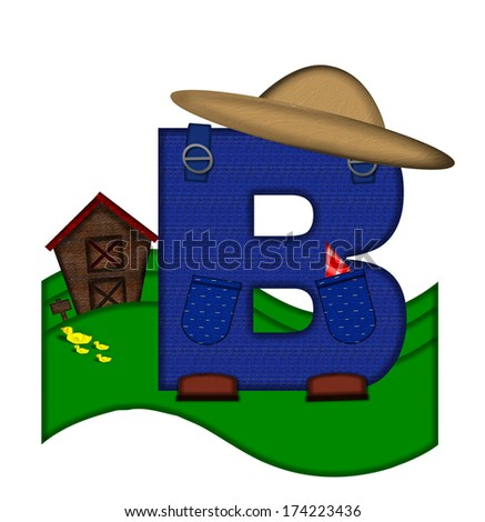 """The letter B, in the alphabet set """"Down on the Farm,"""" is dressed in denim overalls complete with pockets.  Letter sits on farm scene with rolling hills, barn, and ducks. - stock photo"""