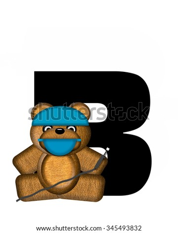 "The letter B, in the alphabet set ""Teddy Dental Checkup,"" is black.  Teddy bear wearing a dental mask and hat represents dentist holding various dental tools.   - stock photo"