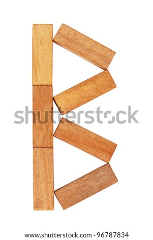 The letter B is made ??up of wooden blocks