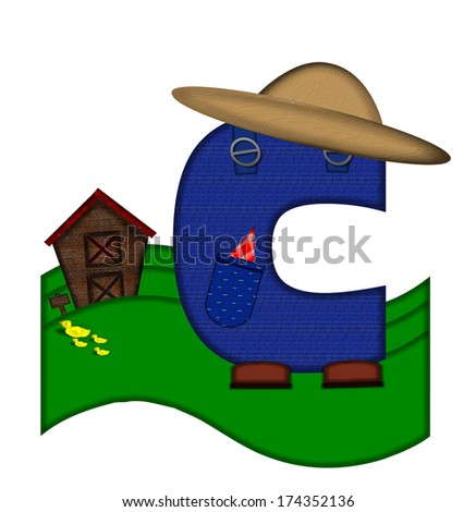 """The letter C, in the alphabet set """"Down on the Farm,"""" is dressed in denim overalls complete with pockets.  Letter sits on farm scene with rolling hills, barn, and ducks. - stock photo"""