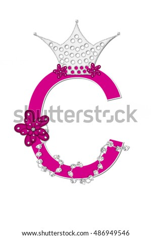 "The letter C, in the alphabet set ""Pageant Queen"" is bright pink and outlined with white.  Letter is decorated with crown, flower, and diamonds."