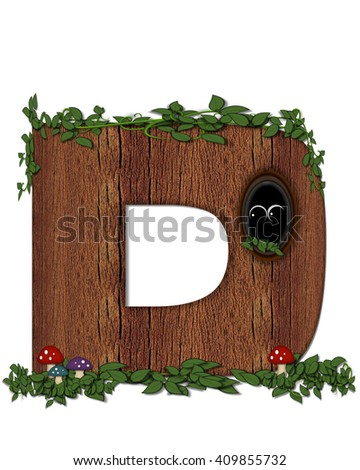 """The letter D, in the alphabet set """"Log"""" is filled with wood texture.  Vines and colorful mushrooms grow around letter.  Some letters have knot holes with peeking eyes. - stock photo"""