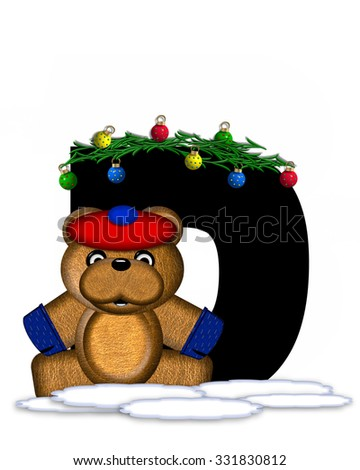 """The letter D, in the alphabet set """"Teddy Christmas Boughs,"""" is black and sits on pile of snow.  Teddy Bear wearing cap and mittens, decorates letter with Christmas boughs and ornaments. - stock photo"""