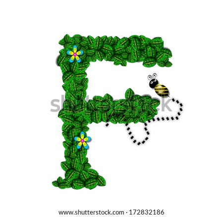 "The letter F, in the alphabet set ""Bee Buzz"", is a garland of bright green leaves with small flowers blooming.  A bee buzzes among the leaves."