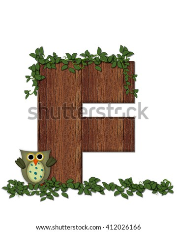 "The letter F, in the alphabet set ""Deep Woods Owl"" is filled with wood texture and has vines growing all over it.  Owl sits on log-style letter. - stock photo"