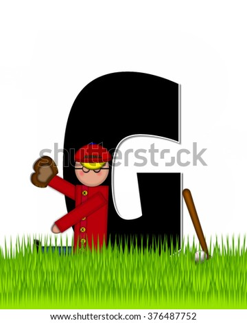 """The letter G, in the alphabet set """"Children Baseball"""" is black and trimmed with white.  Child is playing baseball in a field of green grass.  Equipment includes bat, ball and glove. - stock photo"""