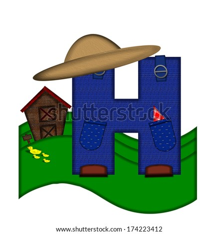 """The letter H, in the alphabet set """"Down on the Farm,"""" is dressed in denim overalls complete with pockets.  Letter sits on farm scene with rolling hills, barn, and ducks. - stock photo"""