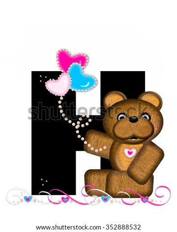 """The letter H, in the alphabet set """"Teddy Valentine's Cutie,"""" is black.  Brown teddy bear holds heart shaped balloons in pink and blue.  String of pearls serve as string. - stock photo"""