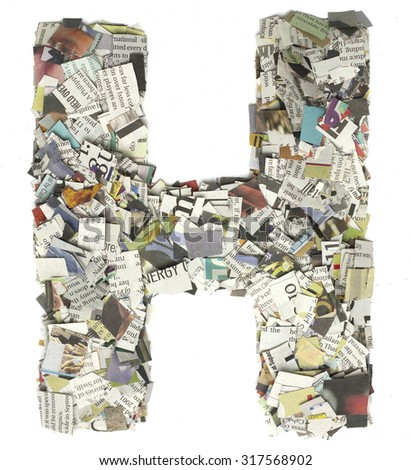 The letter H  made from newspaper confetti - stock photo