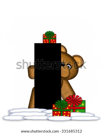 """The letter I, in the alphabet set """"Teddy Christmas,"""" is black and sits on pile of snow.  Teddy Bear and presents decorate each letter. - stock photo"""