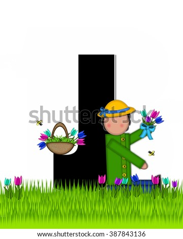 "The letter J, in the alphabet set ""Children Tulip Patch"" is black outlined with white.  Children hold tulip bouquet and stand in colorful tulip patch. - stock photo"