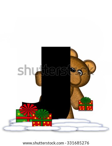 """The letter J, in the alphabet set """"Teddy Christmas,"""" is black and sits on pile of snow.  Teddy Bear and presents decorate each letter. - stock photo"""
