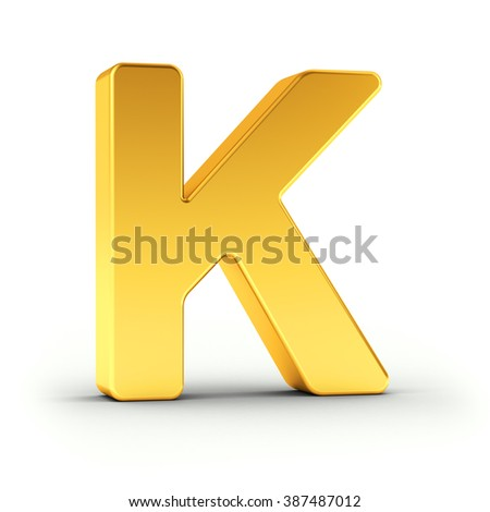 The Letter K as a polished golden object over white background with clipping path for quick and accurate isolation. - stock photo