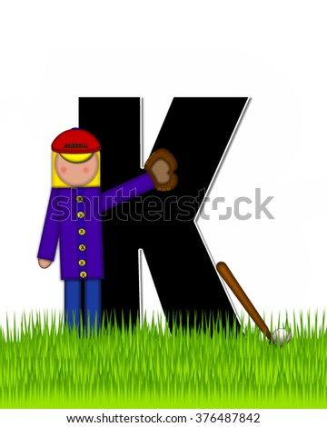 """The letter K, in the alphabet set """"Children Baseball"""" is black and trimmed with white.  Child is playing baseball in a field of green grass.  Equipment includes bat, ball and glove. - stock photo"""
