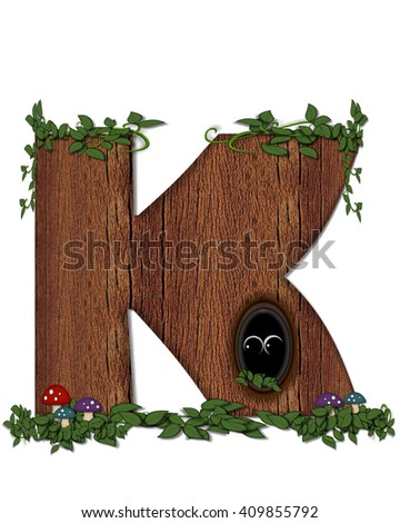 """The letter K, in the alphabet set """"Log"""" is filled with wood texture.  Vines and colorful mushrooms grow around letter.  Some letters have knot holes with peeking eyes. - stock photo"""