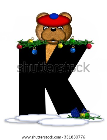 """The letter K, in the alphabet set """"Teddy Christmas Boughs,"""" is black and sits on pile of snow.  Teddy Bear wearing cap and mittens, decorates letter with Christmas boughs and ornaments. - stock photo"""