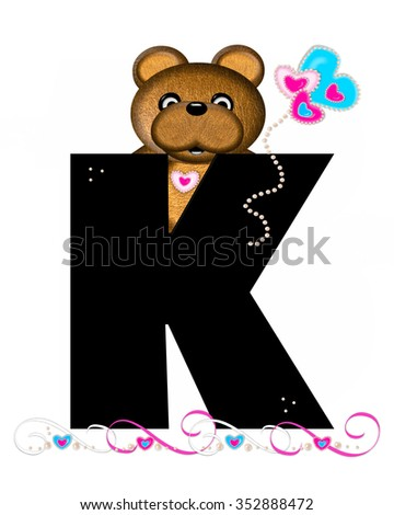 """The letter K, in the alphabet set """"Teddy Valentine's Cutie,"""" is black.  Brown teddy bear holds heart shaped balloons in pink and blue.  String of pearls serve as string. - stock photo"""