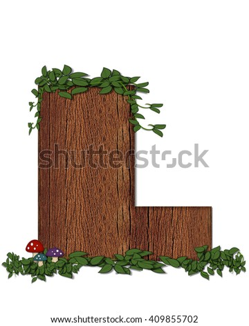 "The letter L, in the alphabet set ""Log"" is filled with wood texture.  Vines and colorful mushrooms grow around letter.  Some letters have knot holes with peeking eyes. - stock photo"