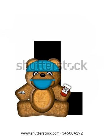 "The letter L, in the alphabet set ""Teddy Dental Checkup,"" is black.  Teddy bear wearing a dental mask and hat represents dentist holding various dental tools.   - stock photo"