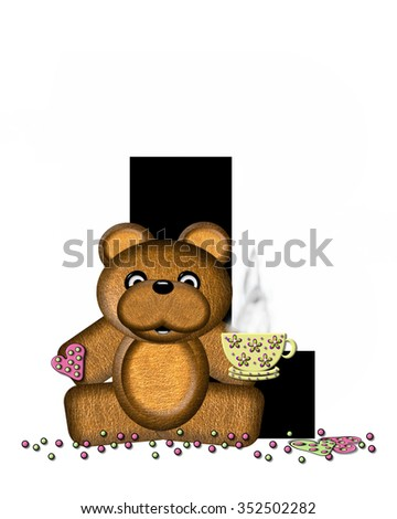 "The letter L, in the alphabet set ""Teddy Tea Time,"" is black.  Teddy bear enjoys a cup of hot tea with heart shaped and frosted cookies.  Candy sprinkles cover floor."