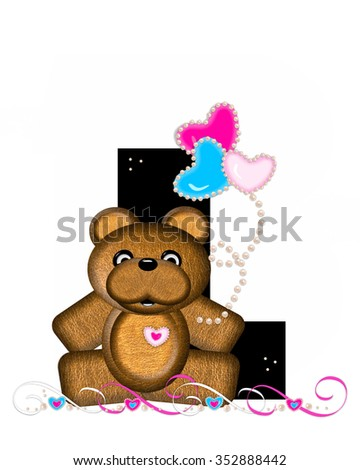 """The letter L, in the alphabet set """"Teddy Valentine's Cutie,"""" is black.  Brown teddy bear holds heart shaped balloons in pink and blue.  String of pearls serve as string. - stock photo"""