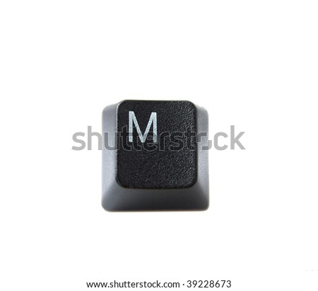 The letter M from a black computer keyboard
